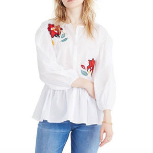 Embroidered Flowers Peplum Cotton Blouse Madewell